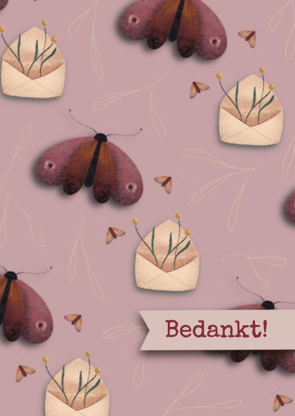 Bedankkaartjes - Bedank kaart met envelopjes en vlinders