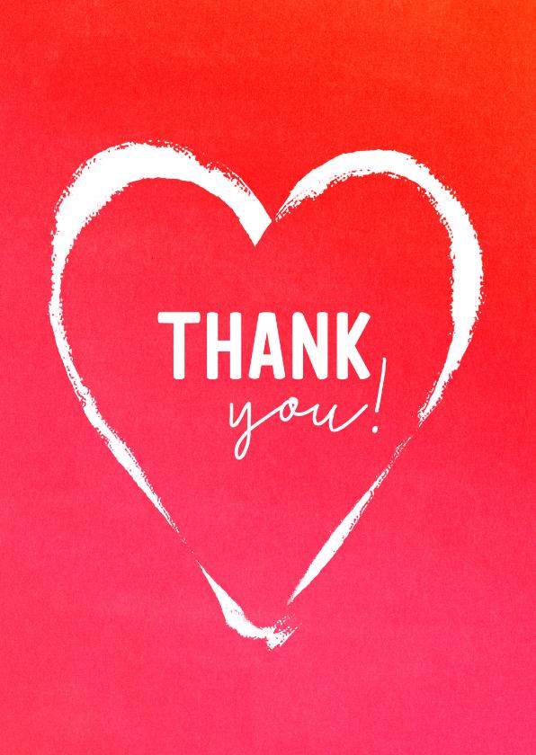 Bedankkaartjes - Bedank kaart rood hart