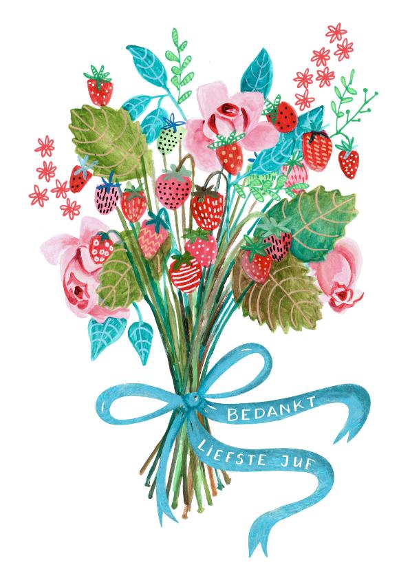 Bedankkaartjes - Bedank kaartje bosje aardbeien en bloemen