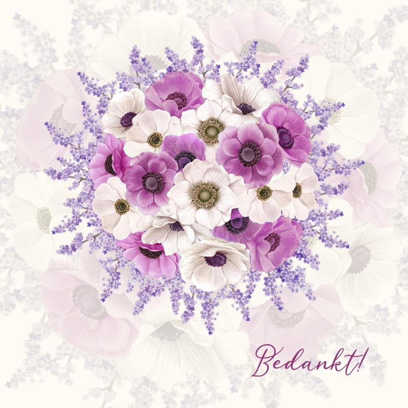 Bedankkaartjes - Bedanken met bloemenboeket