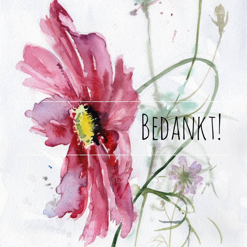 Bedankkaartjes - Bedankkaart, aquarel Cosmea