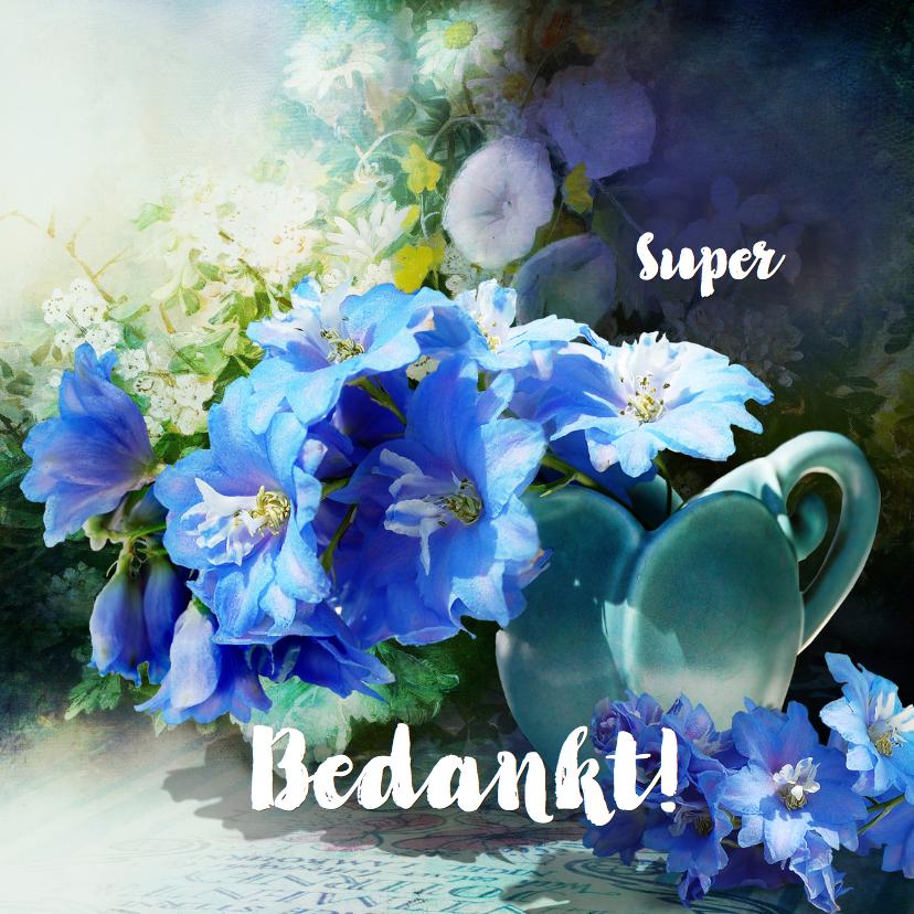 Bedankkaartjes - Bedankkaart blauwe bloemen - SG