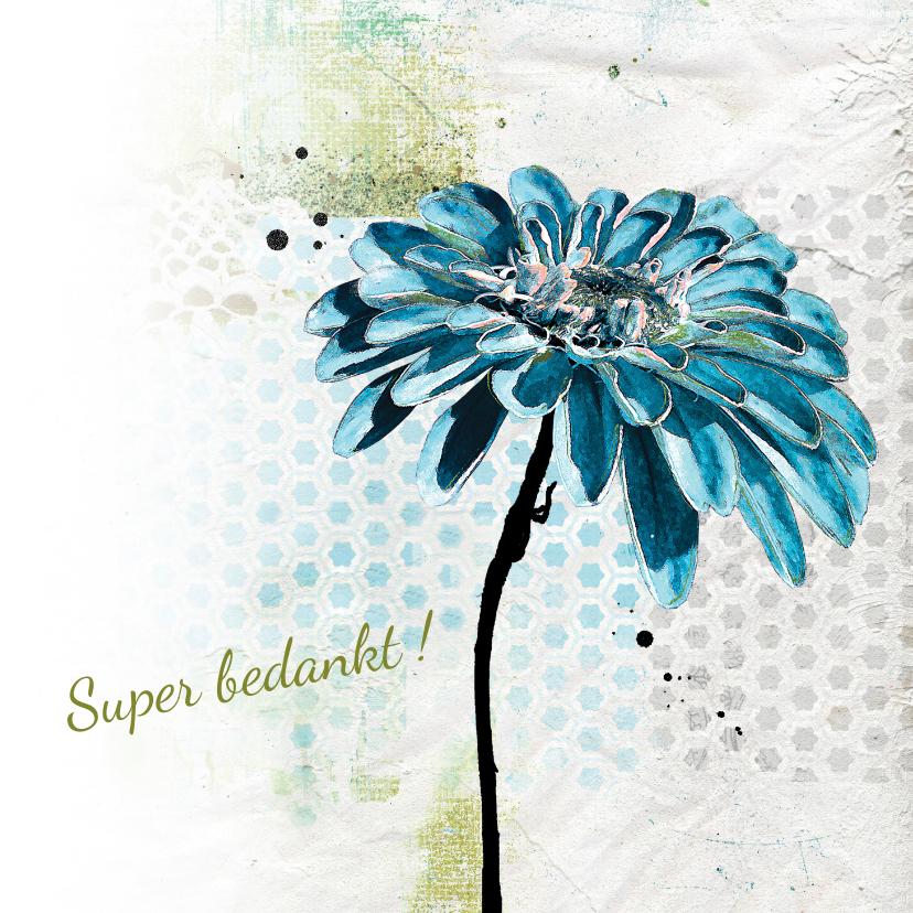 Bedankkaartjes - Bedankkaart bloem patroon achtergrond