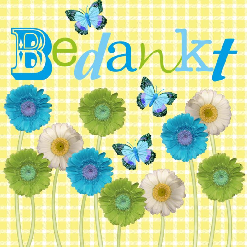 Bedankkaartjes - Bedankkaart bloemen vlinders vrolijk