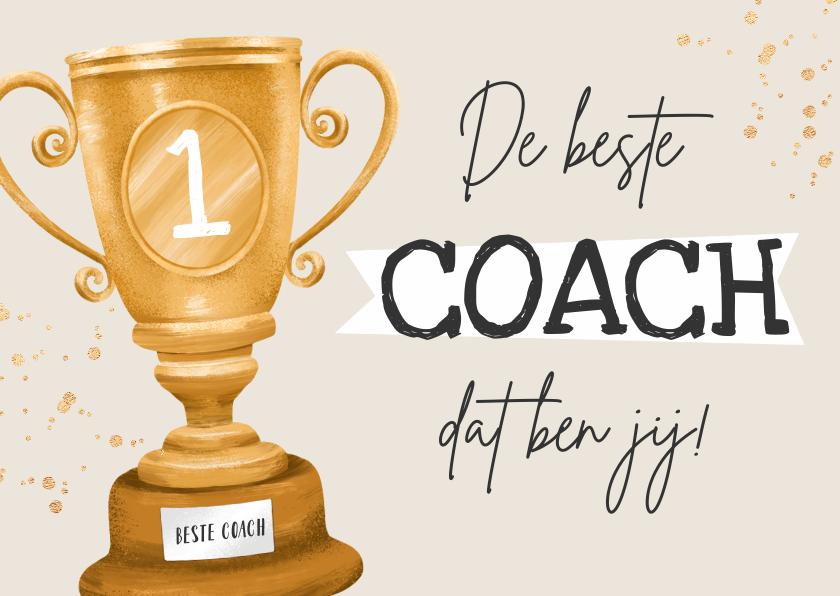 Bedankkaartjes - Bedankkaart coach kampioen beker bedankt goud waard