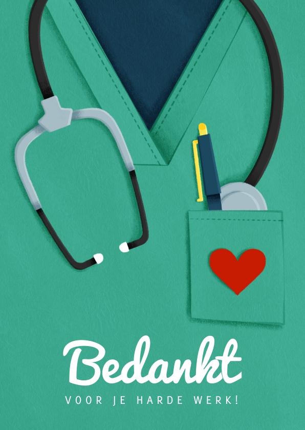 Bedankkaartjes - Bedankkaart hulpverleners stethoscoop dokter