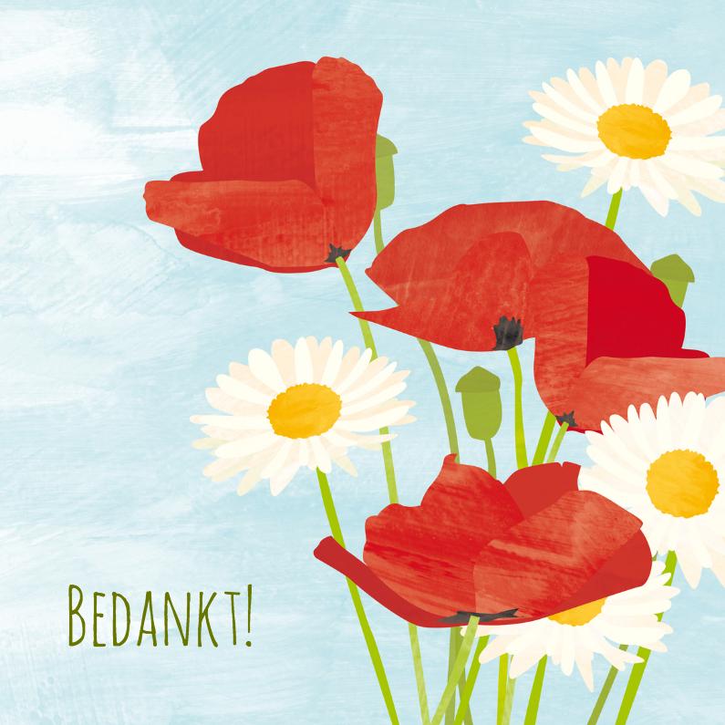 Bedankkaartjes - Bedankkaart margriet en klaproos