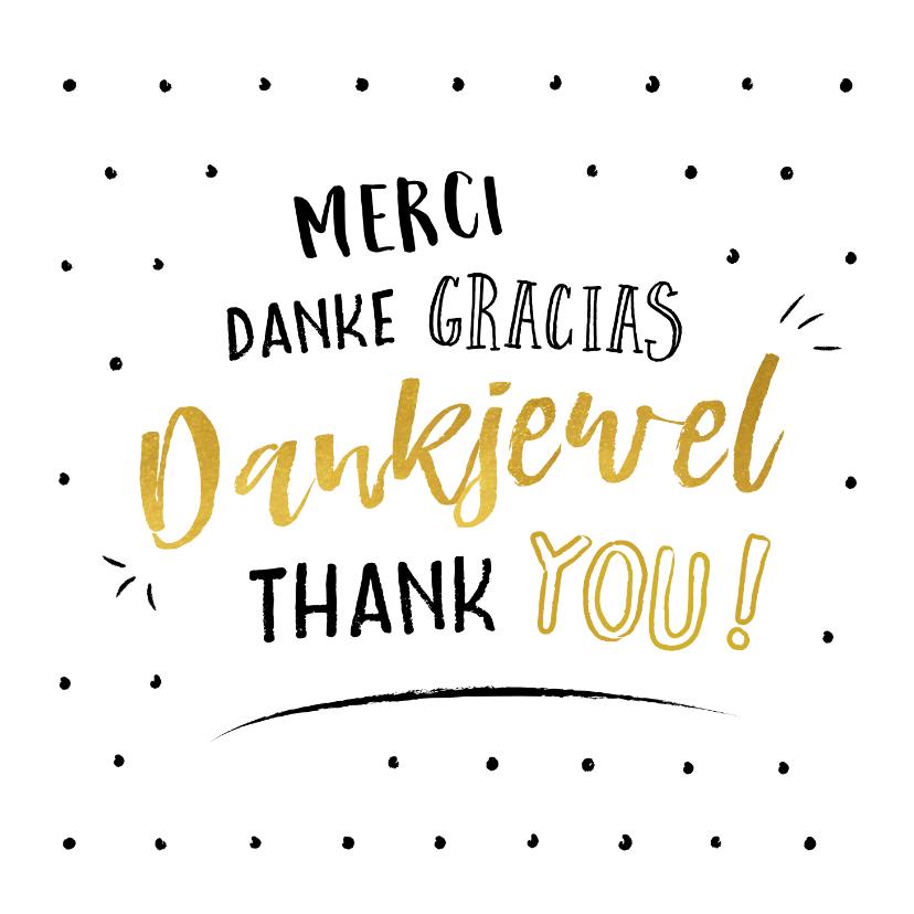Bedankkaart met bedankt is verschillende talen | Kaartje2go