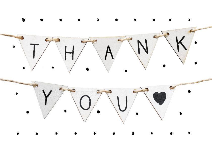 Bedankkaartjes - Bedankkaart met stippen en vlaggetjes met tekst thank you