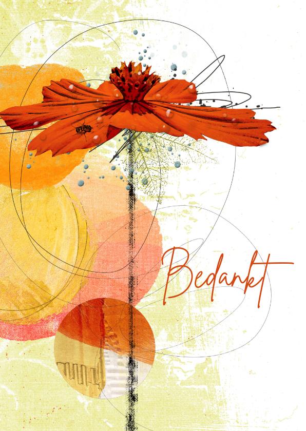 Bedankkaartjes - Bedankkaart oranje bloem cirkels