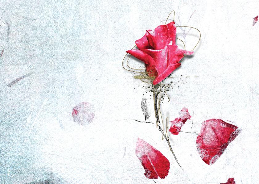 Bedankkaartjes - Bedankkaart Rozenblaadjes Roos