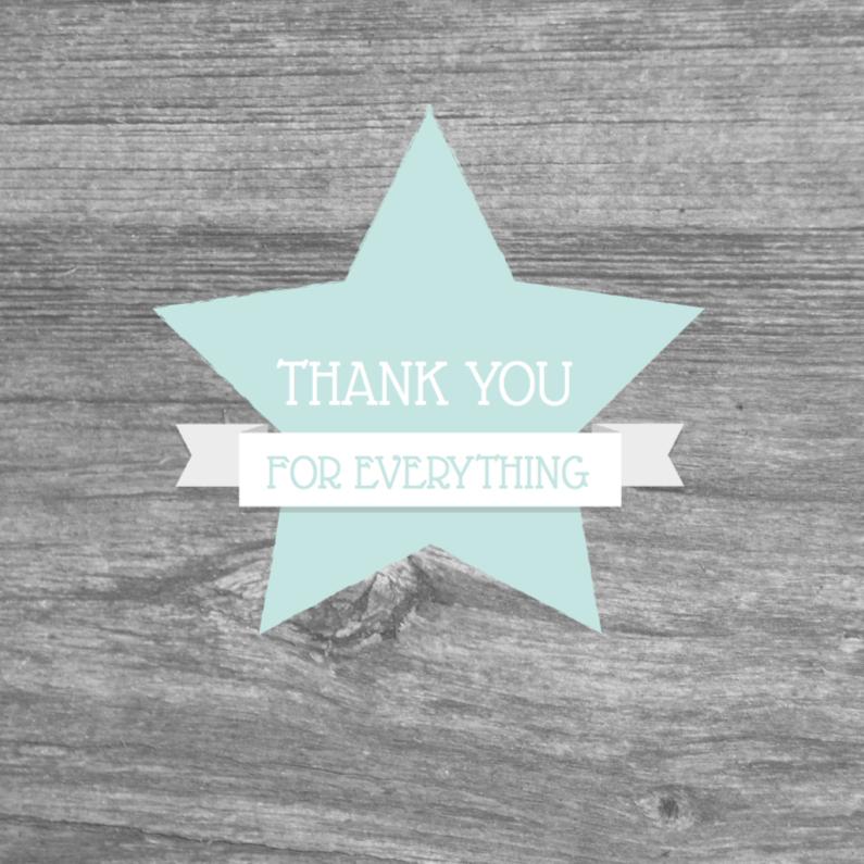 Bedankkaartjes - Bedankkaart ster houtlook