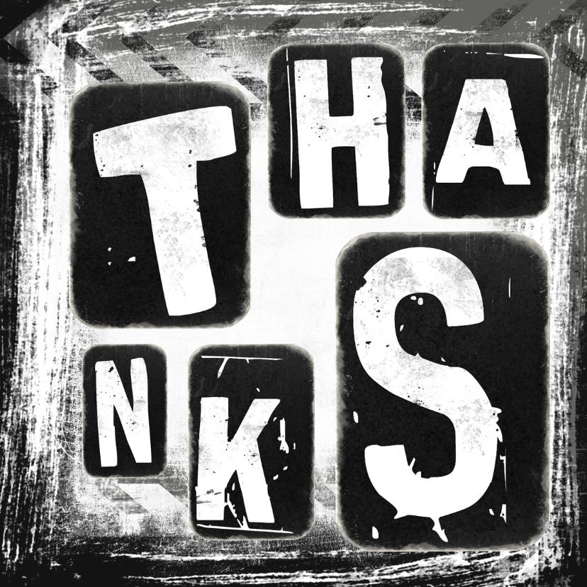 Bedankkaartjes - Bedankkaart Thanks grunge