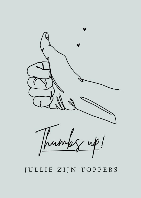 Bedankkaartjes - Bedankkaart thumbs up algemeen toppers duim omhoog