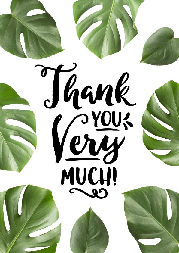 Bedankkaartjes - Bedankkaart tropisch botanisch thank you very much