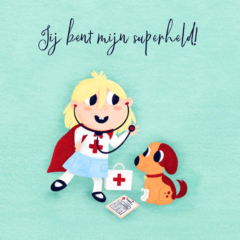Bedankkaartjes - Bedankkaart zorgverlener superheld meisje