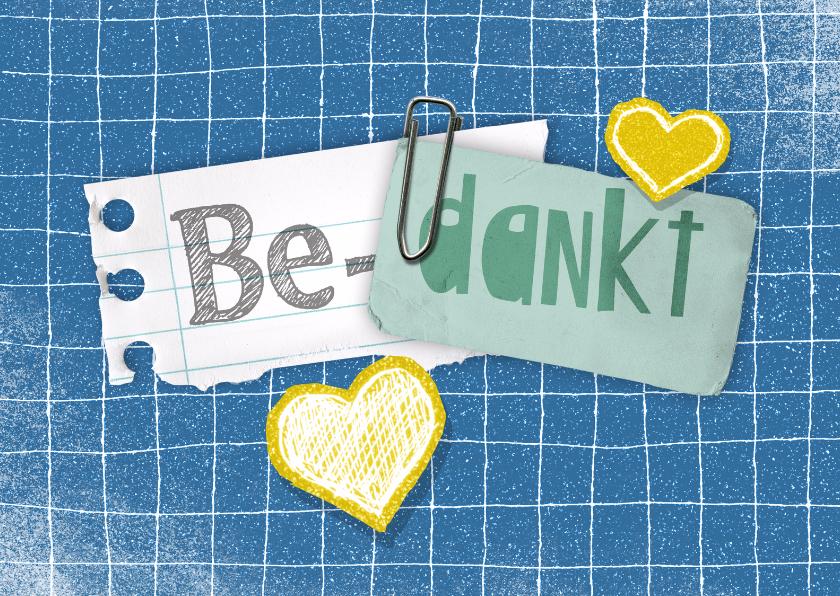 Bedankkaartjes - Bedankkaartje blauw hartjes ruit