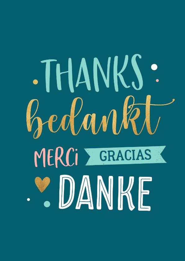 Bedankkaartjes - Bedankkaartje in verschillende talen