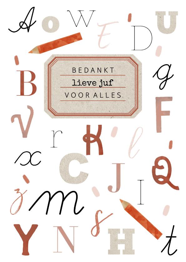 Bedankkaartjes - Bedankkaartje lieve juf met alfabet letters en vintage label