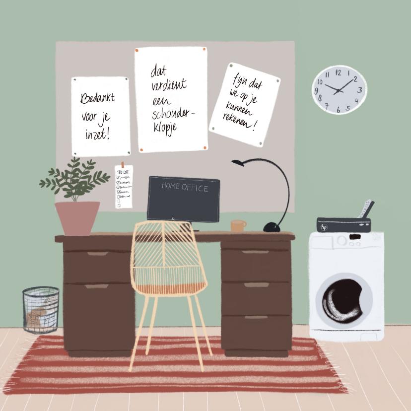 Bedankkaartjes - Bedankkaartje thuiswerken complimenten op prikbord