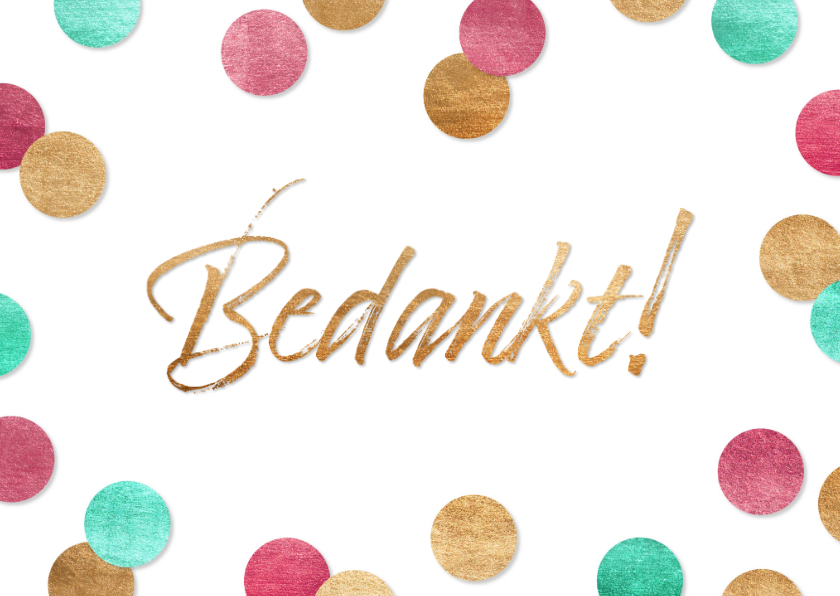Bedankkaartjes - Bedankkaartje vrolijke confetti