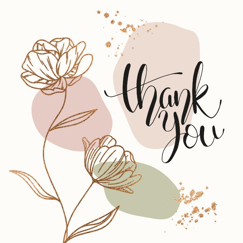 Bedankkaartjes - Bedankkaartjes - Bloemen in goud look met confetti