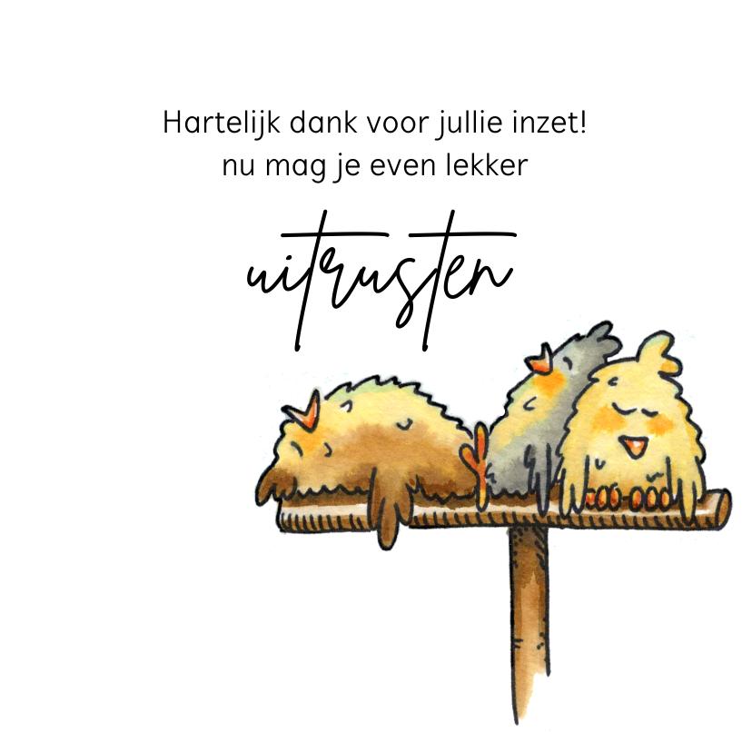 Bedankkaartjes - Bedankkaartjes uitgeputte kippen op stok