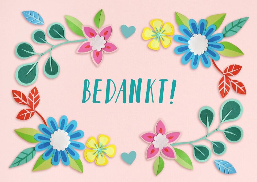 Bedankkaartjes - bedankt bloemenrand