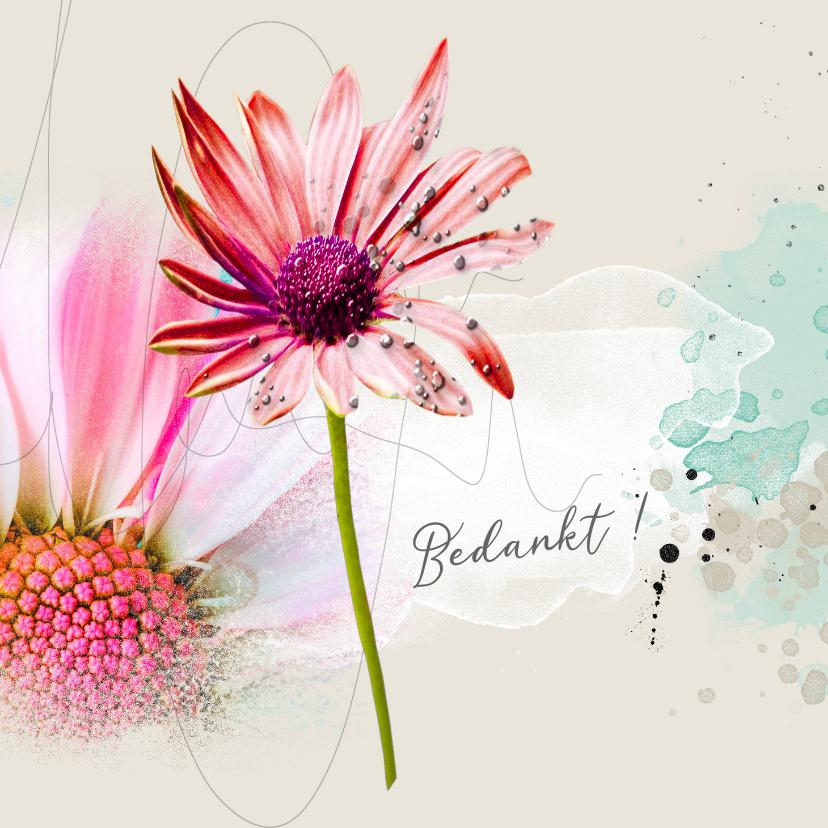 Bedankkaartjes - Bedankt gerbera roze