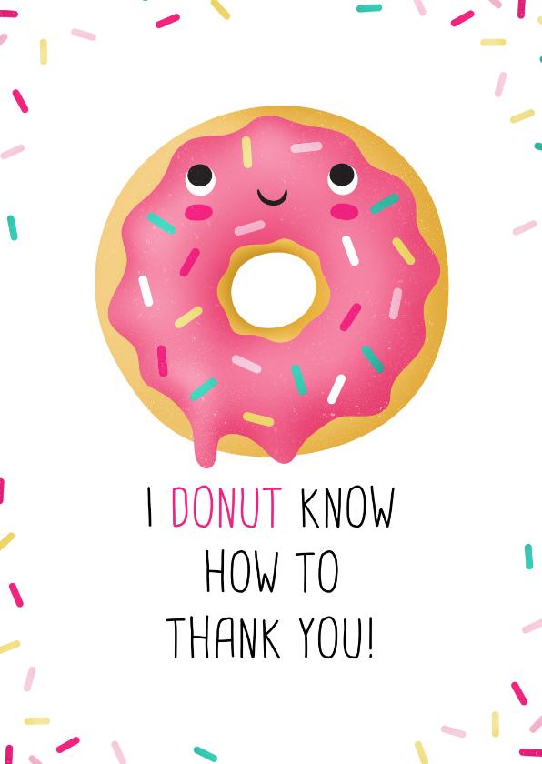 Bedankkaartjes - Bedankt kaart donut grappig humor