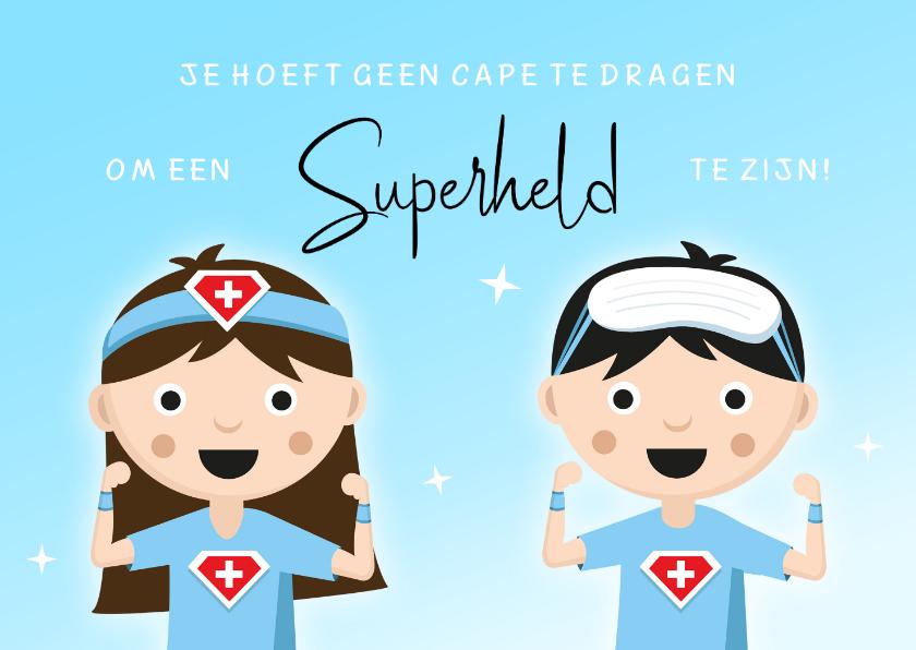 Bedankkaartjes - Bedankt kaart voor hulpverleners in de zorg superhelden cape