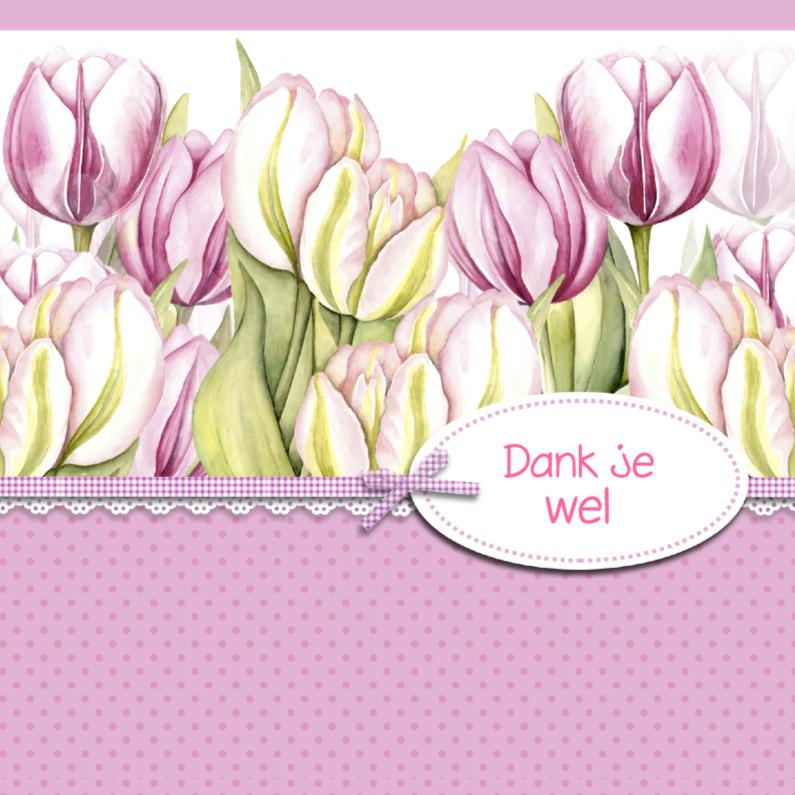 Bedankkaartjes - bedankt met leuke roze tulpen