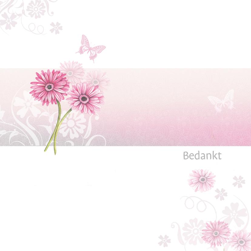 Bedankkaartjes - Bedankt met roze gerbera