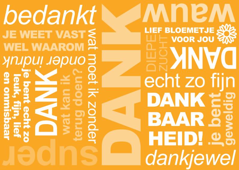 Bedankkaartjes - Bedankt Tekst Oranje
