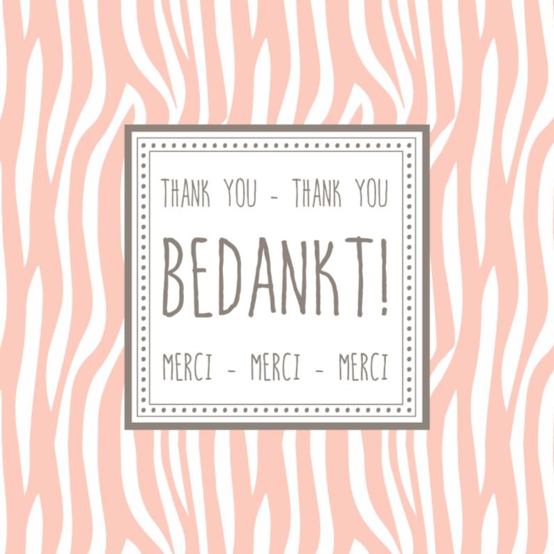 Bedankkaartjes - Bedanktkaartje Zebra Roze - WW