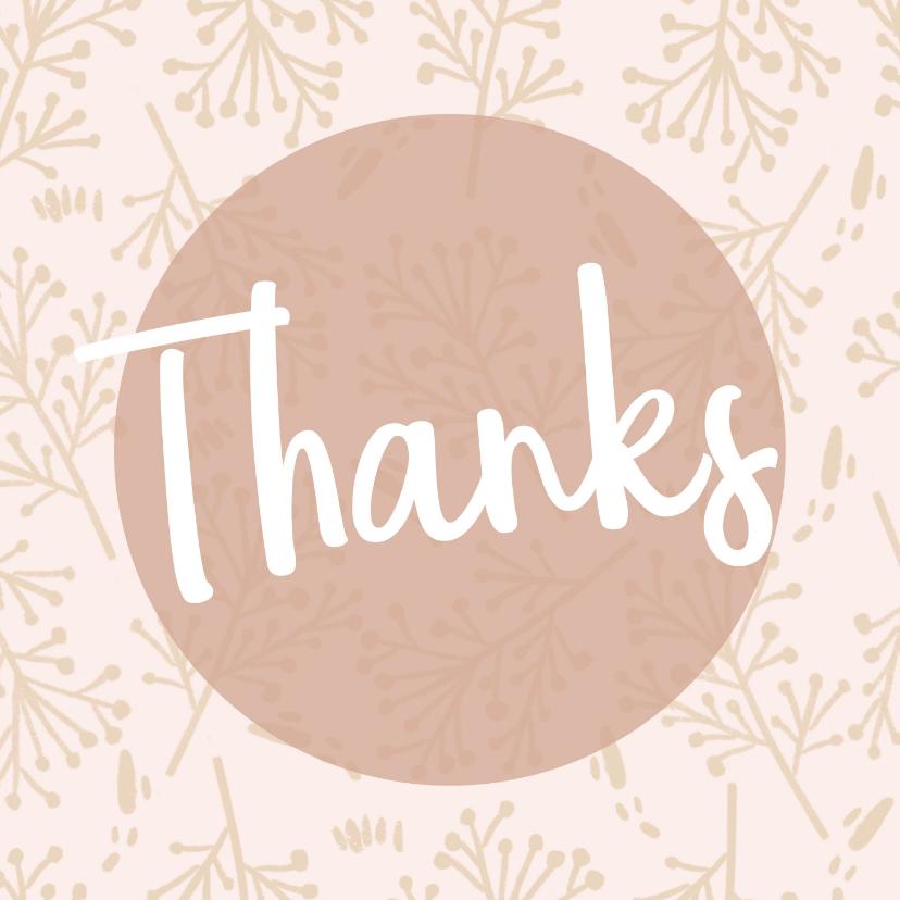 Bedankkaartjes - Bedanktkaartjes, Thanks roze bloemen