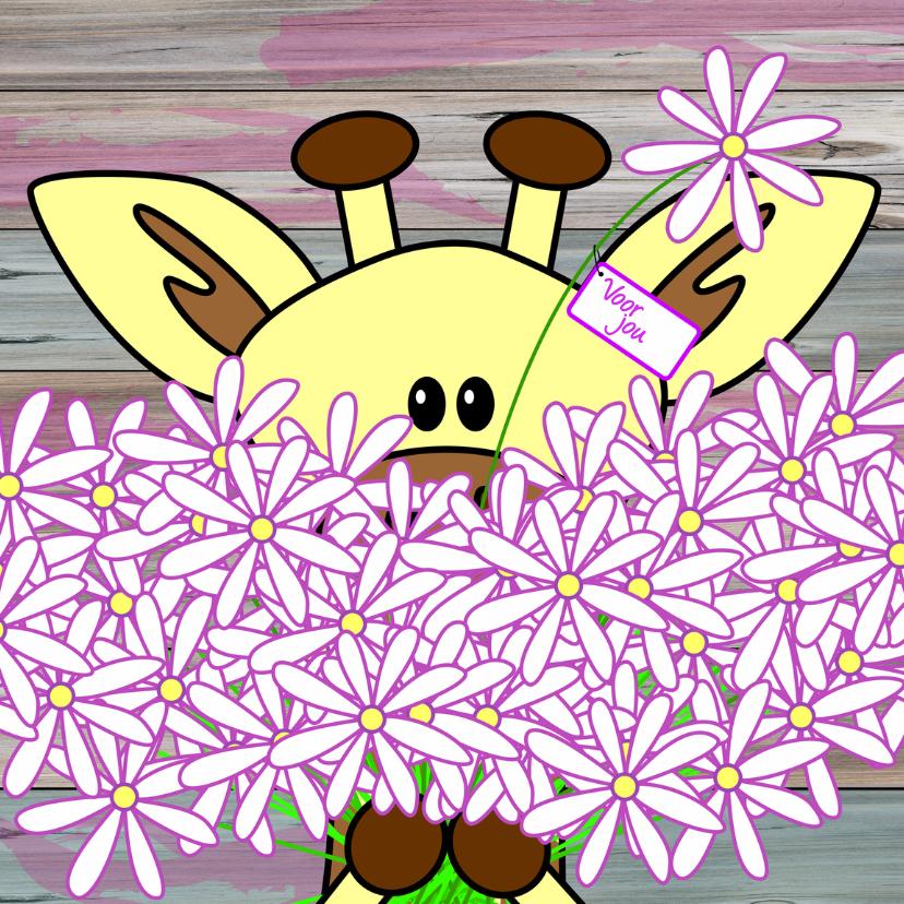 Bedankkaartjes - Giraffe met een grote bos bloemen