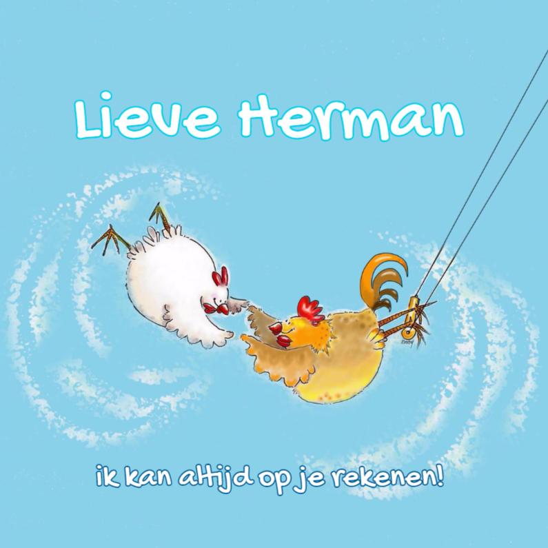 Bedankkaartjes - Haan en kip in de trapeze