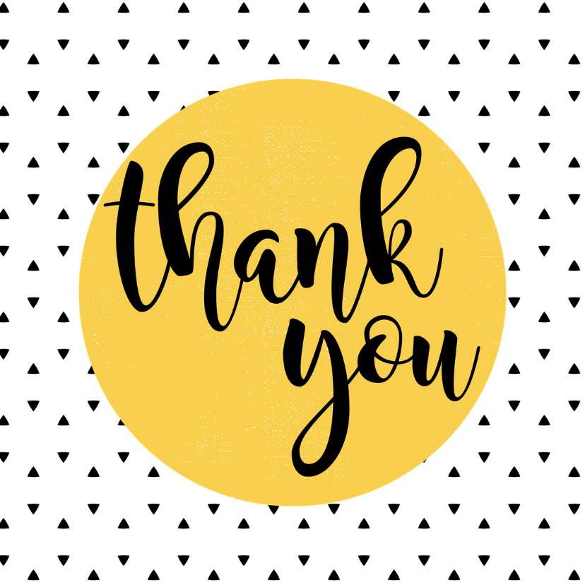 Bedankkaartjes - Hippe kaart 'Thank you' zwart wit okergeel
