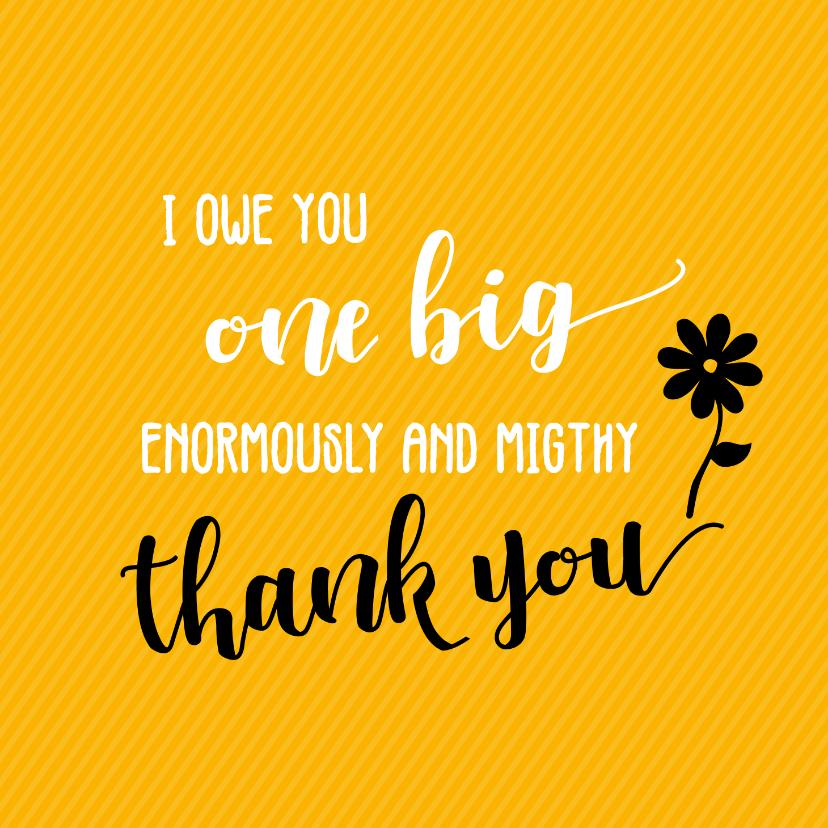 Bedankkaartjes - I owe you one big thank you - bedankkaart