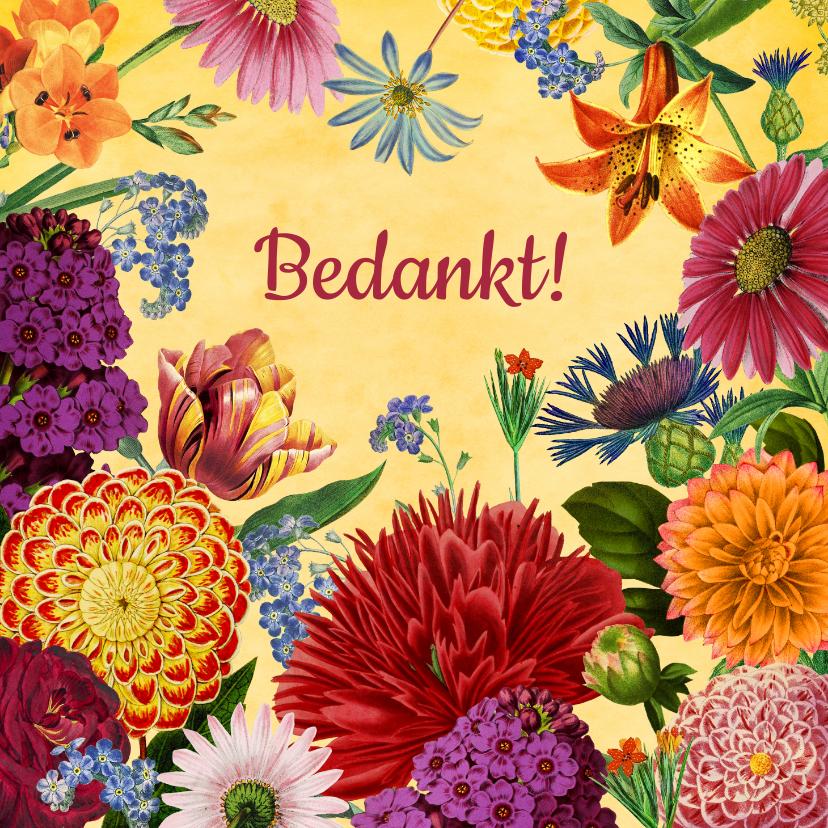 Bedankkaartjes - Kleurrijke bloemen bedank kaart