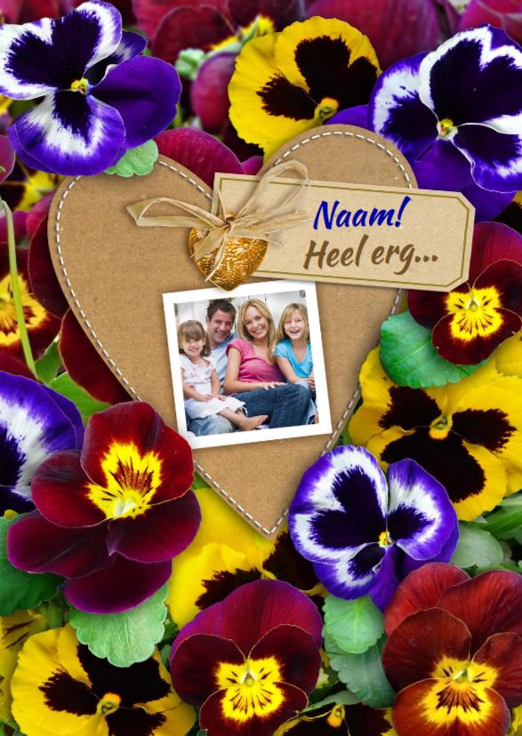 Bedankkaartjes - Leuke bedankkaart met kleurige violen en eigen foto