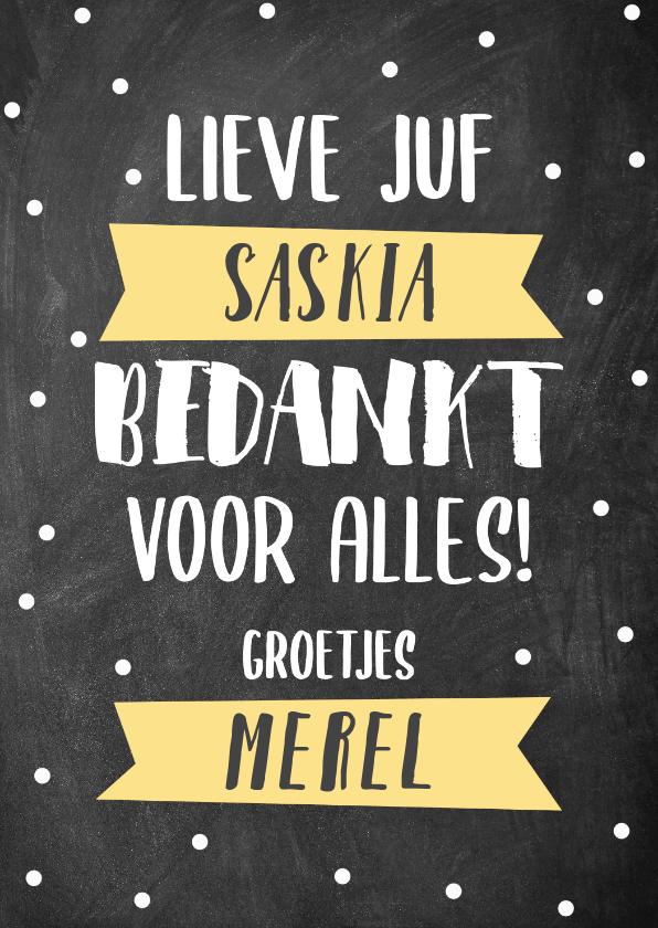 Bedankkaartjes - Lieve bedankkaart Juf met krijtbord, typografie en banners