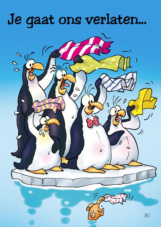 Bedankkaartjes - penguins afscheid 1 pinguins zwaaien