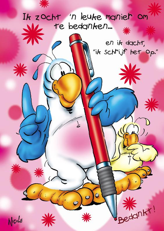Bedankkaartjes - Rocco bedankt 1 papegaai met pen