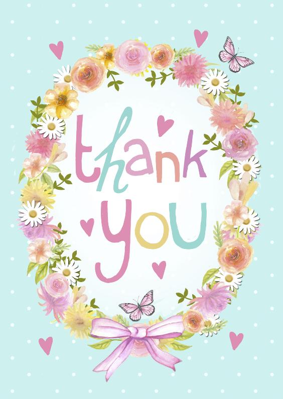 Bedankkaartjes - Thank You bloemenkrans