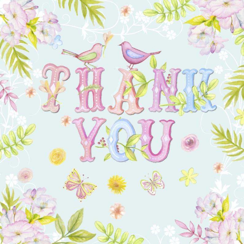 Bedankkaartjes - Thank You tekst aquarel
