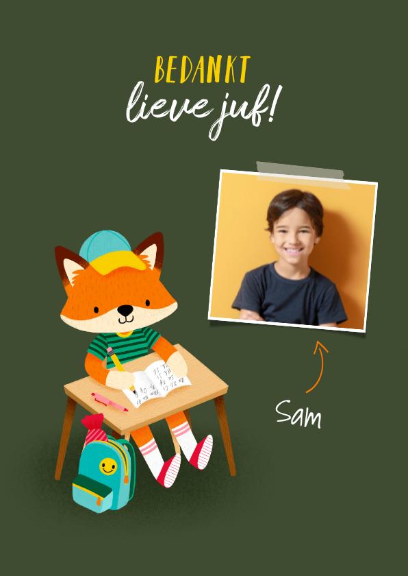 Bedankkaartjes - Vrolijk bedankkaart juf vosje met pennen, rugzak en foto