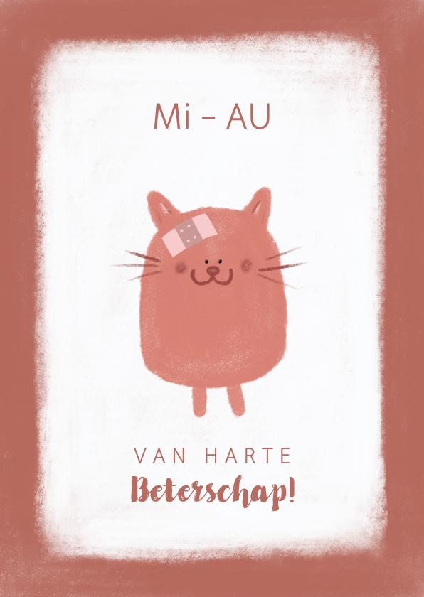 Beterschapskaarten - Beterschap grappig kaartje poesje met pleister MiAU
