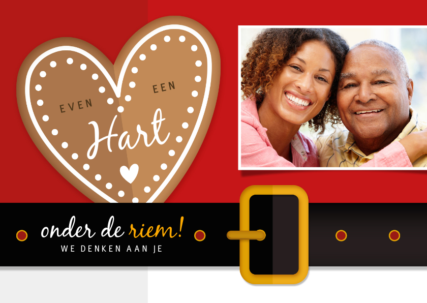 Beterschapskaarten - Beterschap - hart onder de riem kerstman met foto
